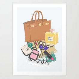 What's in my bag Illustration Art Print