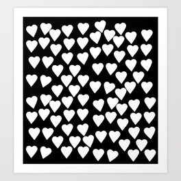 Hearts White on Black Art Print