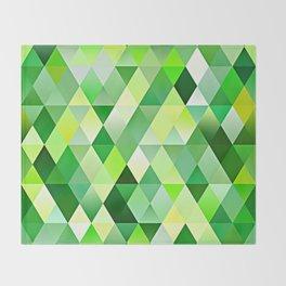Lime Green Yellow White Diamond Triangles Mosaic Pattern Throw Blanket