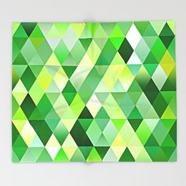 Lime Green Yellow White Diamond Triangles Mosaic Pattern Throw Blanket