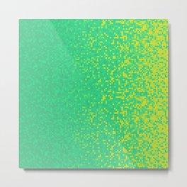 Green Yellow Pixilated Gradient Metal Print