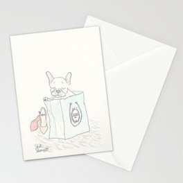 Paris Shopping French Bulldog Style Stationery Cards