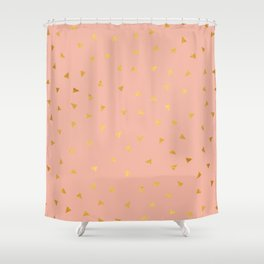 Millennial Pink Gold Pastel Pattern Shower Curtain