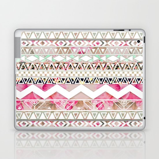 Aztec Spring Time! | Girly Pink White Floral Abstract Aztec Pattern Laptop & iPad Skin