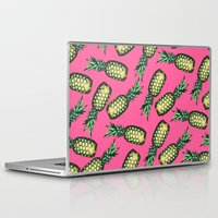 pineapple Laptop & iPad Skins featuring Pineapple Pattern by Georgiana Paraschiv