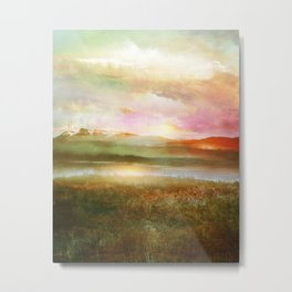 Sunset and flowers Metal Print