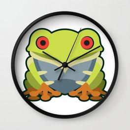 Cute Kawaii Green Tree Frog Wall Clock
