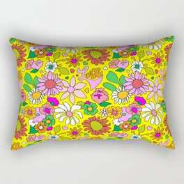 60's Lovers Floral in Sunshine Yellow Rectangular Pillow