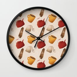 Brown Fall Style Tea and Coffee Wall Clock