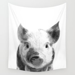 Black and white pig portrait Wall Tapestry