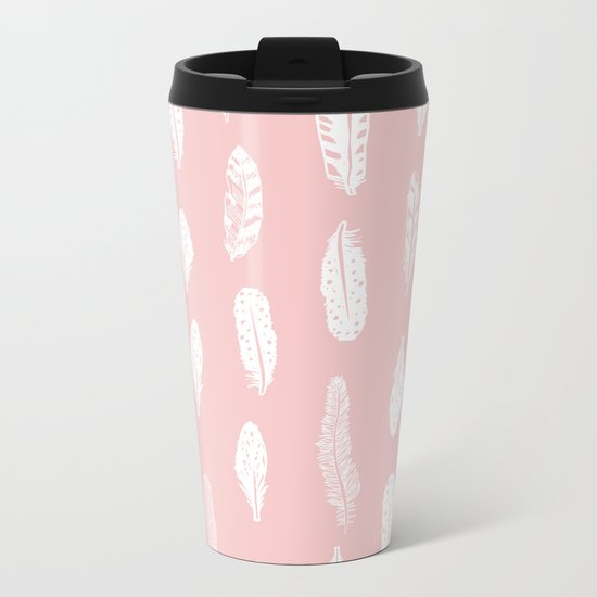 Feather pink and white minimal feathers pattern nursery gender neutral boho decor Metal Travel Mug