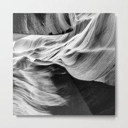 Photography: Ocean Theme Black, White, Beach Waves Metal Print