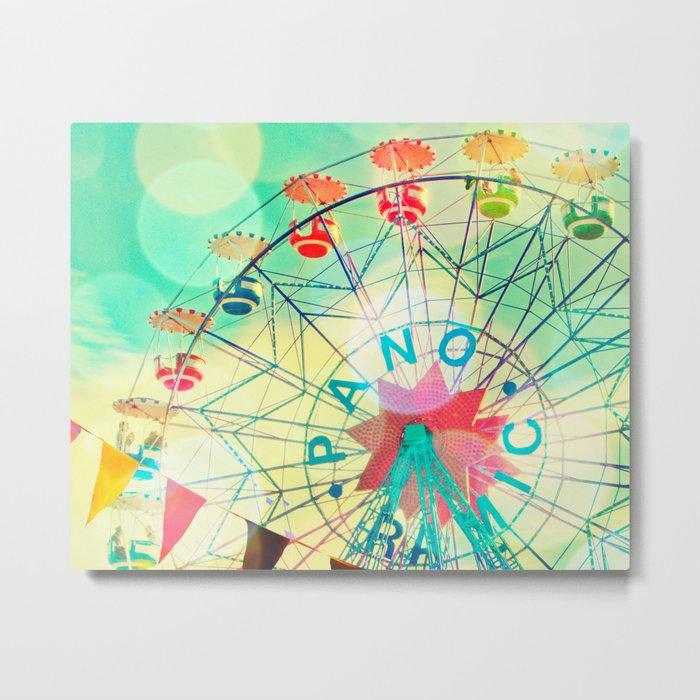 Panoramic carnival ferris wheel Metal Print