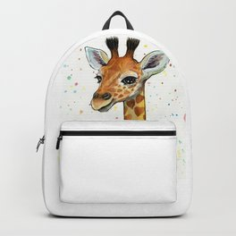 Giraffe Baby Animal with Hearts Watercolor Backpack