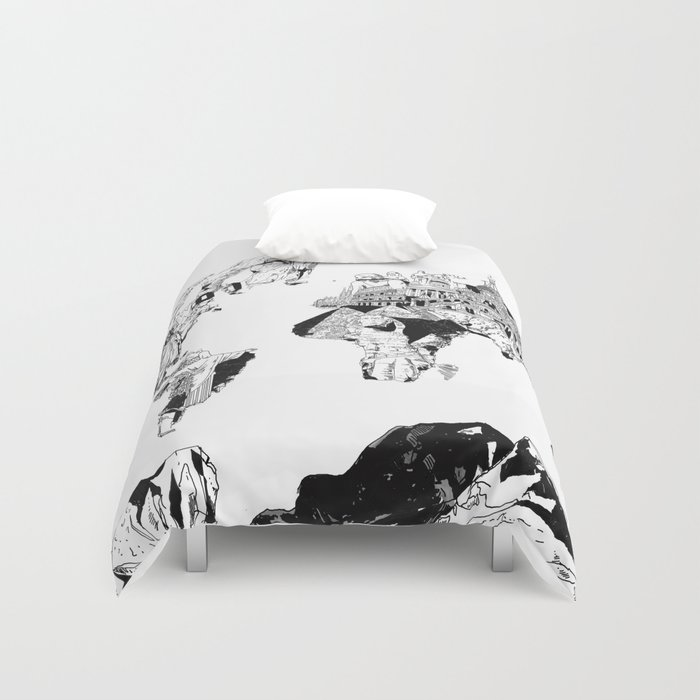 World map black and white duvet cover by bekimart society6 gumiabroncs Gallery