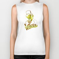 willy wonka Biker Tanks featuring W gold by Buby87