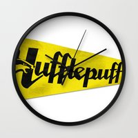hufflepuff Wall Clocks featuring Hufflepuff 1948 Vintage Pennant by Andy Pitts