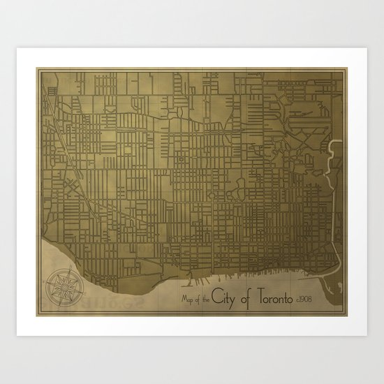 Toronto, Vintage City Map c.1908 Art Print