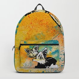 Long Gone Whisper III (street art graffiti painting, girl with butterflies) Backpack