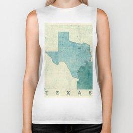 Texas State Map Blue Vintage Biker Tank