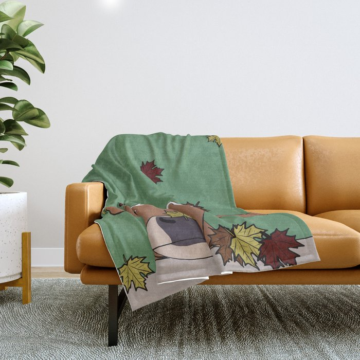 Bessie the Calf and Fall Leaves Throw Blanket