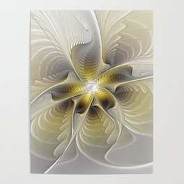 Gold And Silver, Abstract Flower Fractal Poster