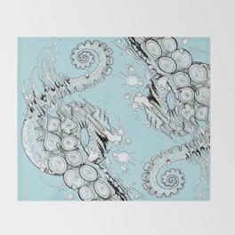 Cephalopodic Swipe (linework) Throw Blanket