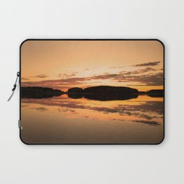 Beautiful sunset - glowing orange - forest silhouette and reflection Laptop Sleeve