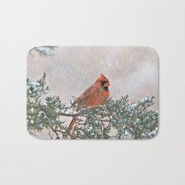 Snowfall Cardinal Bath Mat
