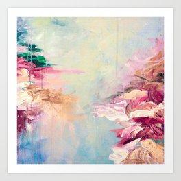 WINTER DREAMLAND 1 Colorful Pastel Aqua Marsala Burgundy Cream Nature Sea Abstract Acrylic Painting  Art Print