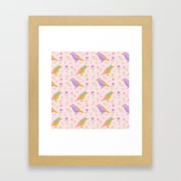Birds and Flowers Gouache Pattern | Pastel birds and Flowers Framed Art Print