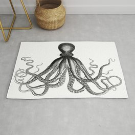 Octopus | Vintage Octopus | Tentacles | Black and White | Rug