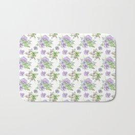 Succulents Pattern Purple and Green Bath Mat