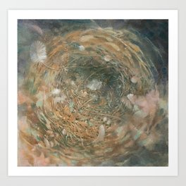 Nest and Feathers Art Print