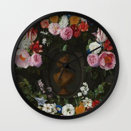 "Jan Philip van Thielen ""Festoon of Flowers surrounding a Bust of Flora"" Wall Clock"