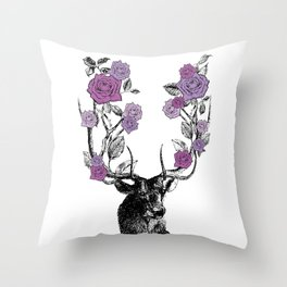 The Stag and Roses | Lilac | Purple Throw Pillow