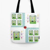 backpack Tote Bags featuring Backpack  Quilt -Apple by Drape Studio