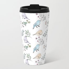 Watercolour birds Metal Travel Mug