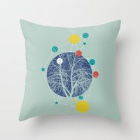 planets Throw Pillows featuring Planets by Tamsin Lucie