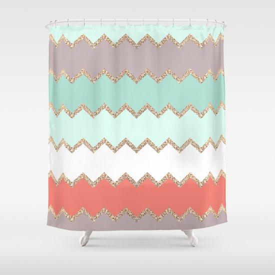 AVALON CORAL MINT Shower Curtain By Monika Strigel