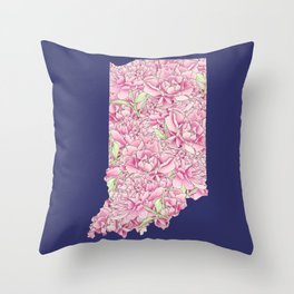 Indiana in Flowers Throw Pillow