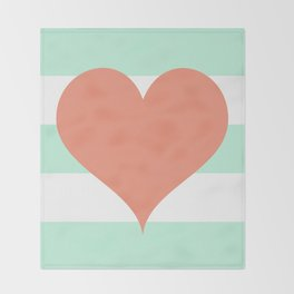 Large Heart on Stripes in Coral and Mint Throw Blanket