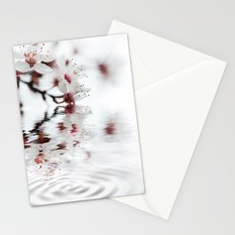 white cherry blossom and water reflection Stationery Cards