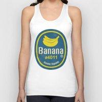 sticker Tank Tops featuring Banana Sticker On Blue by Karolis Butenas