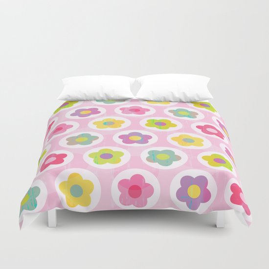 LAZY DAISY PINK Duvet Cover