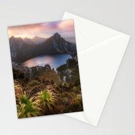 Lake Oberon mountain lake sunset evening mountain landscape rocks Tasmania Australia Stationery Cards