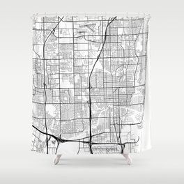 Fort Lauderdale Map, USA - Black and White Shower Curtain
