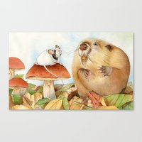 beaver Canvas Prints featuring Mouse & Beaver by Patrizia Donaera ILLUSTRATIONS