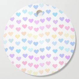 cute colorful hand drawn hearts pattern Cutting Board