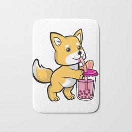 Cute Shiba Bubble Tea Bath Mat